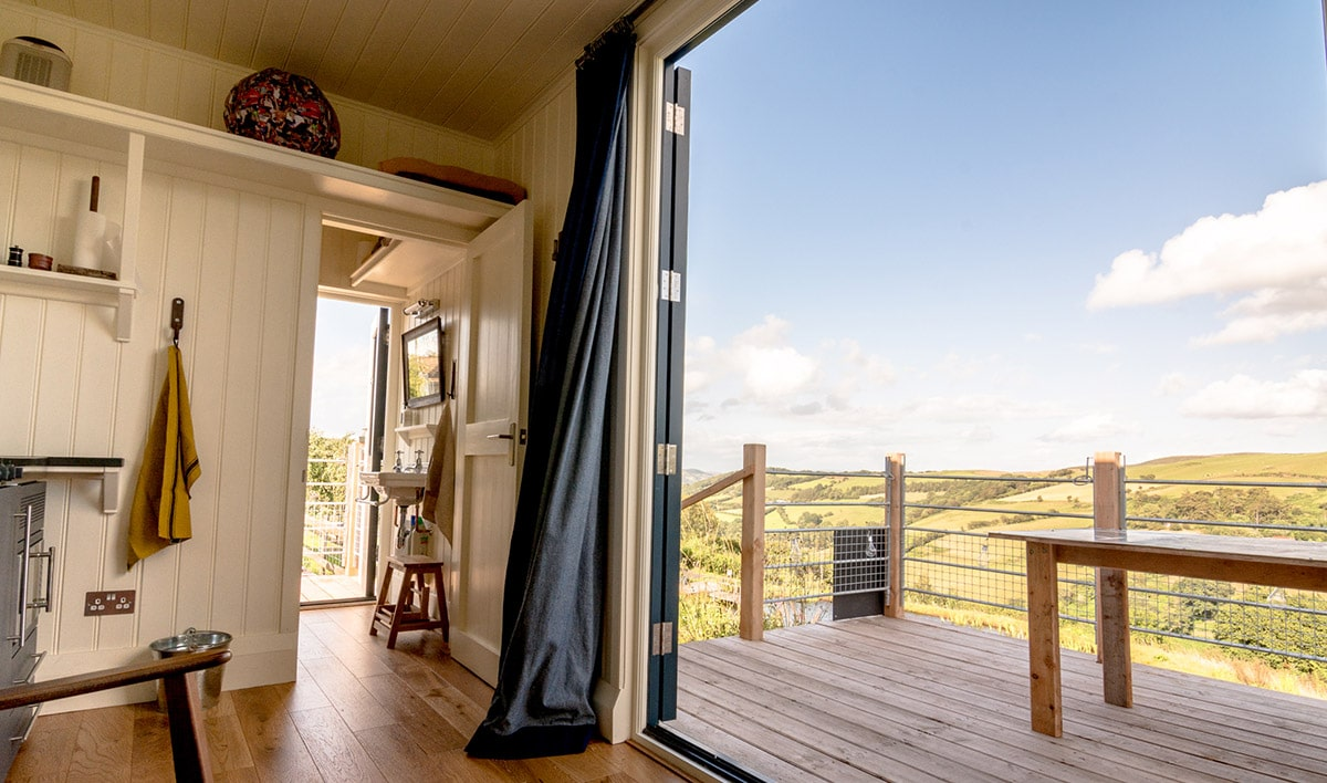 View inside and out of our unique accomodation with stunning views of the Welsh hills