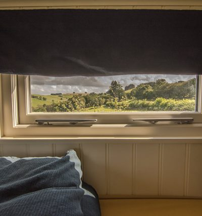View from the bedroom window across the Welsh hills